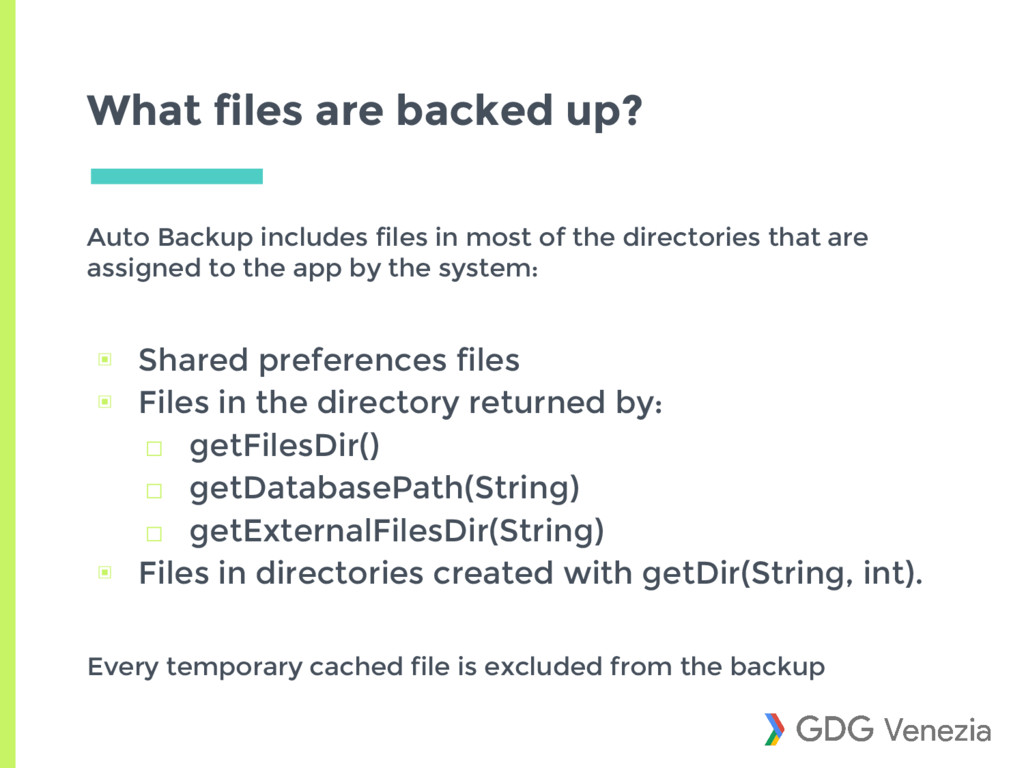 What files are backed up? Auto Backup includes ...