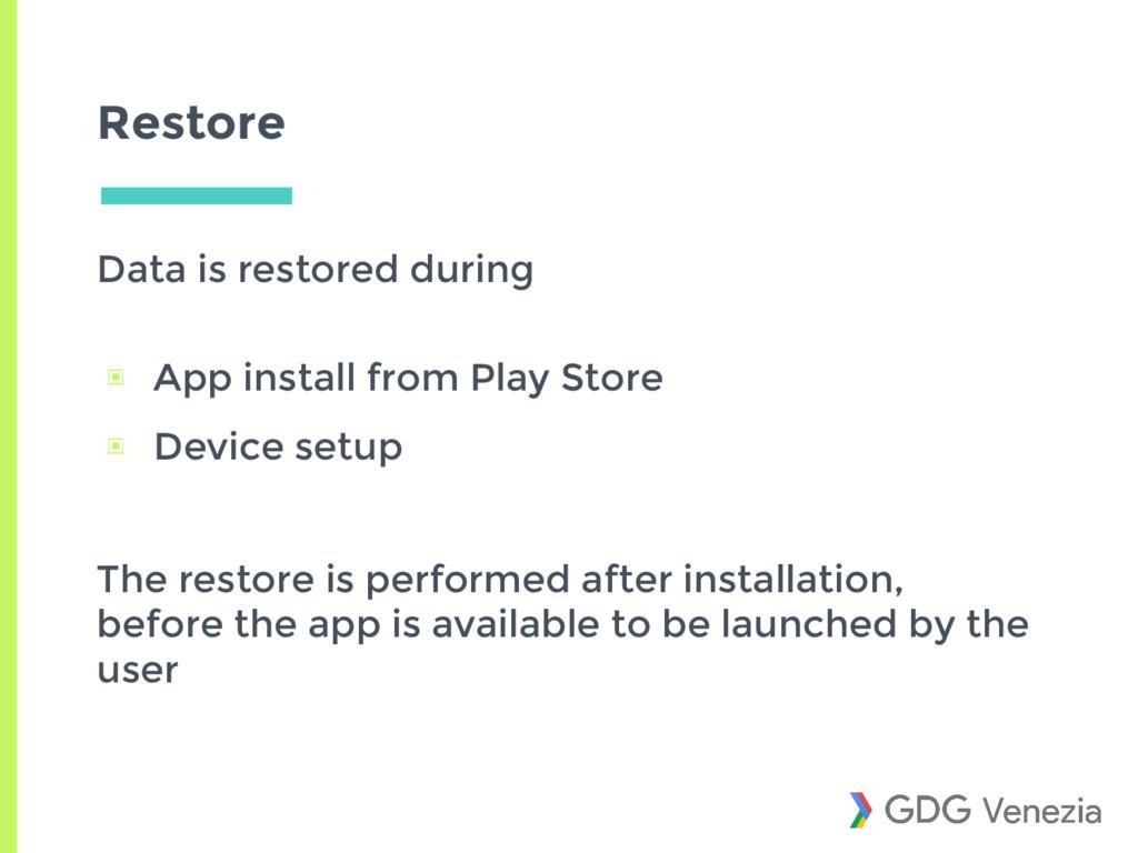 Restore Data is restored during ▣ App install f...