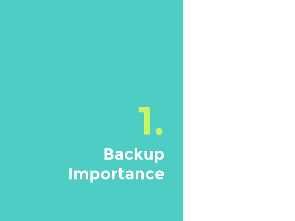 1. Backup Importance