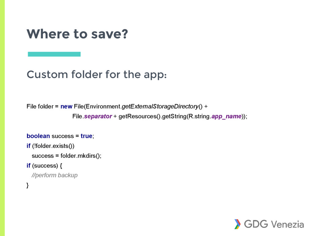 Where to save? Custom folder for the app: File ...