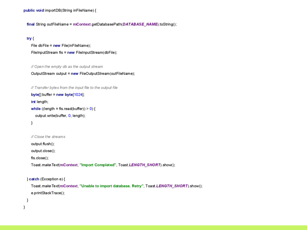 public void importDB(String inFileName) { final...