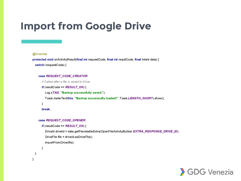 Import from Google Drive @Override protected vo...