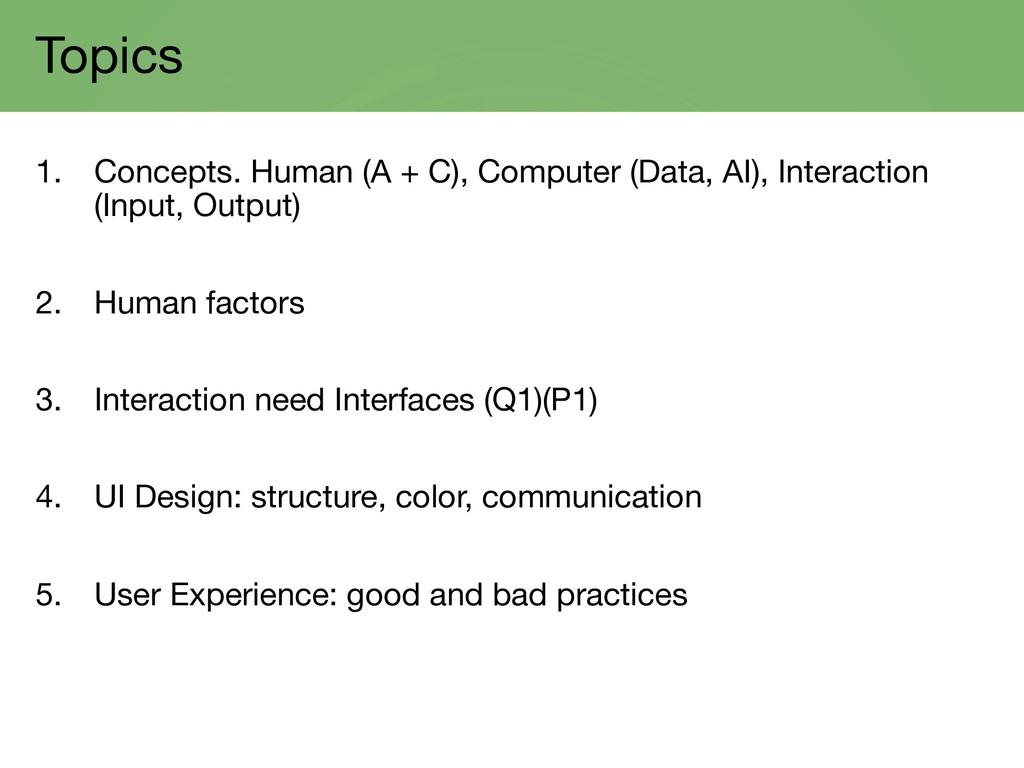 Topics 1. Concepts. Human (A + C), Computer (Da...