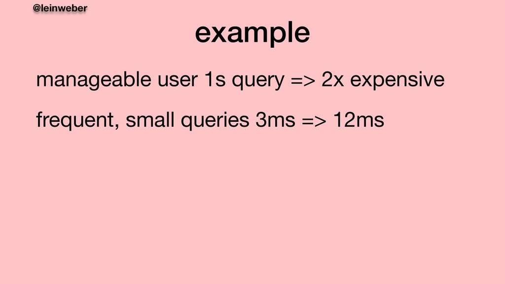 @leinweber example manageable user 1s query => ...