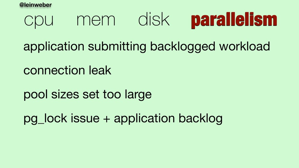 @leinweber cpu mem disk parallelism application...