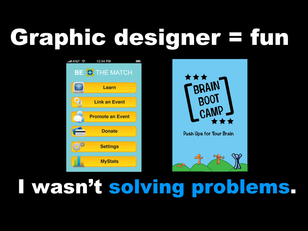 Graphic designer = fun I wasn't solving problem...