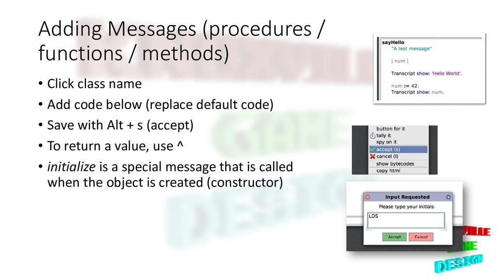 Adding Messages (procedures / functions / metho...