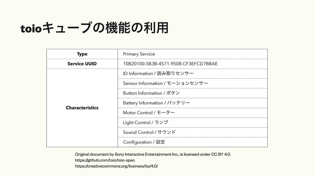 toioΩϡʔϒͷػͷར༻ Type Primary Service Service UUI...