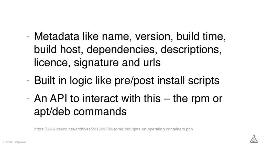 Metadata like name, version, build time, build ...