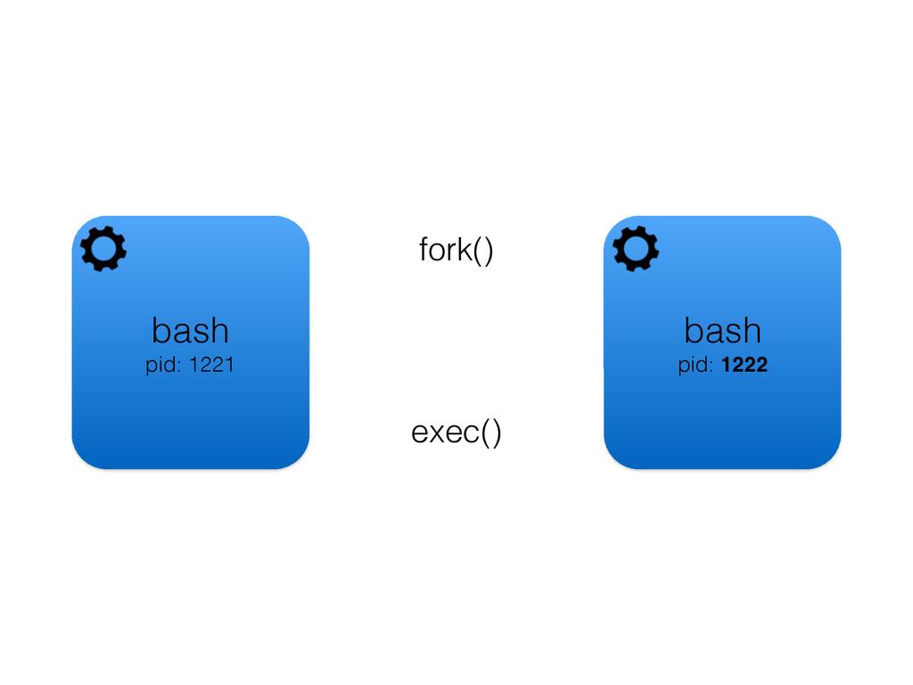 bash pid: 1221 fork() bash pid: 1222 exec()
