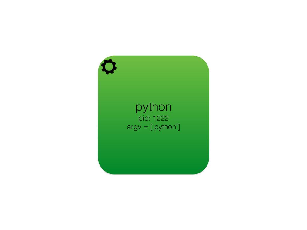 python pid: 1222 argv = ['python']