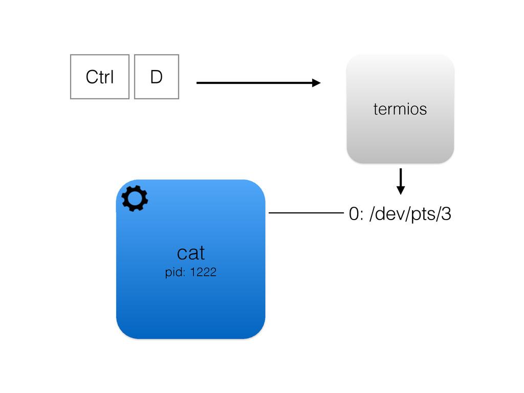 cat pid: 1222 0: /dev/pts/3 Ctrl D termios