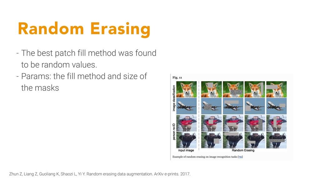 Random Erasing - The best patch fill method was...