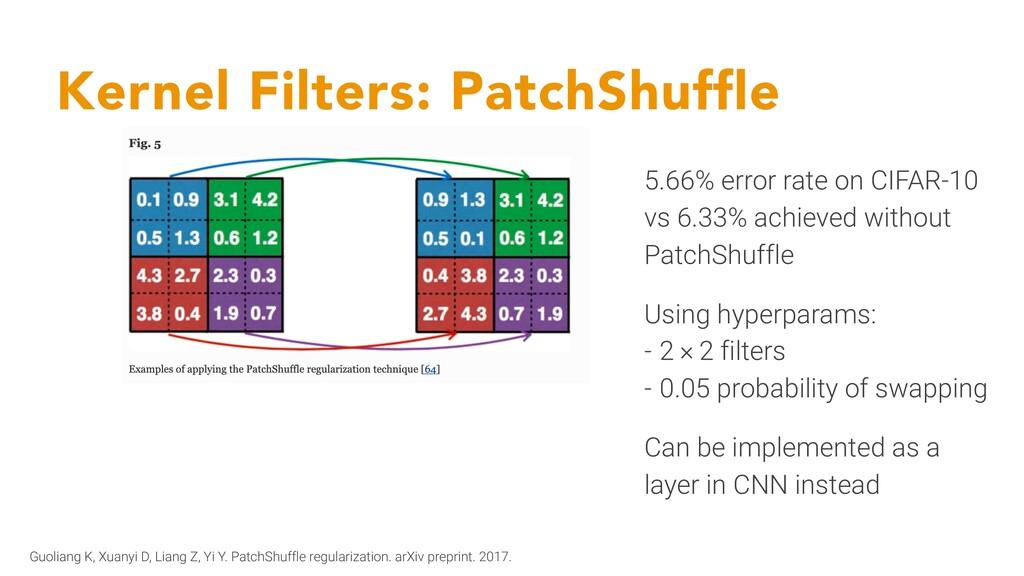 Kernel Filters: PatchShuffle Guoliang K, Xuanyi...