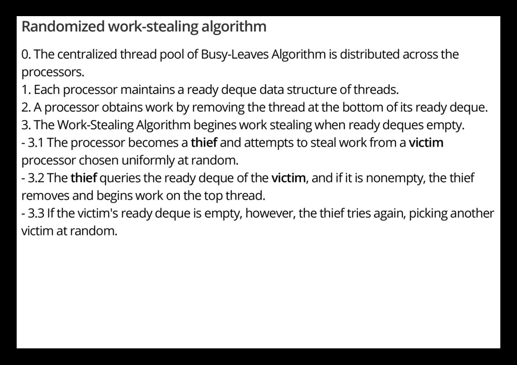 Randomized work-stealing algorithm 0. The centr...