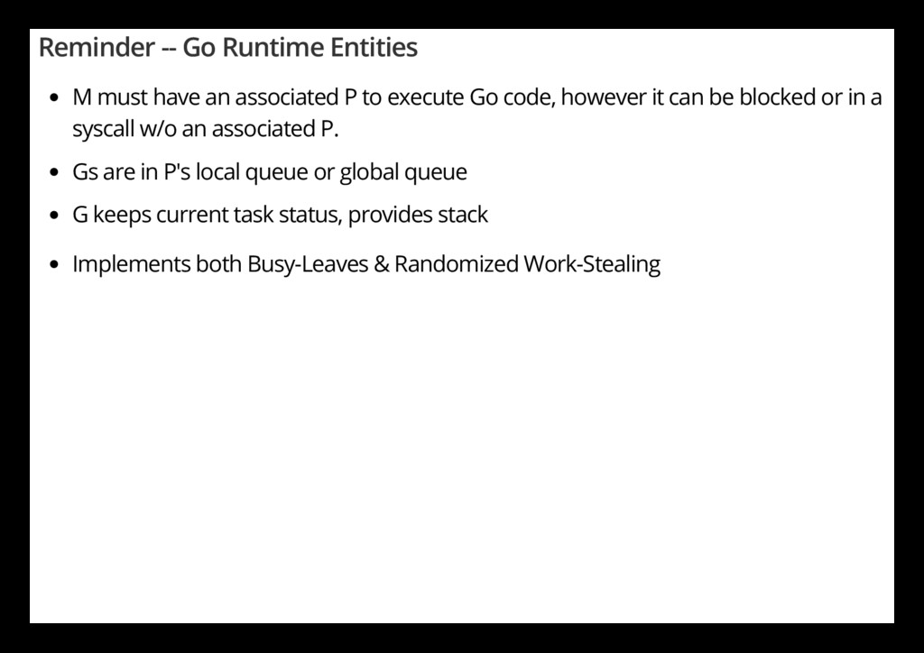Reminder -- Go Runtime Entities M must have an ...