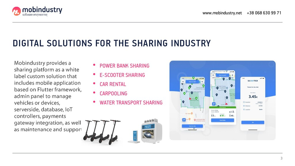 DIGITAL SOLUTIONS FOR THE SHARING INDUSTRY • PO...