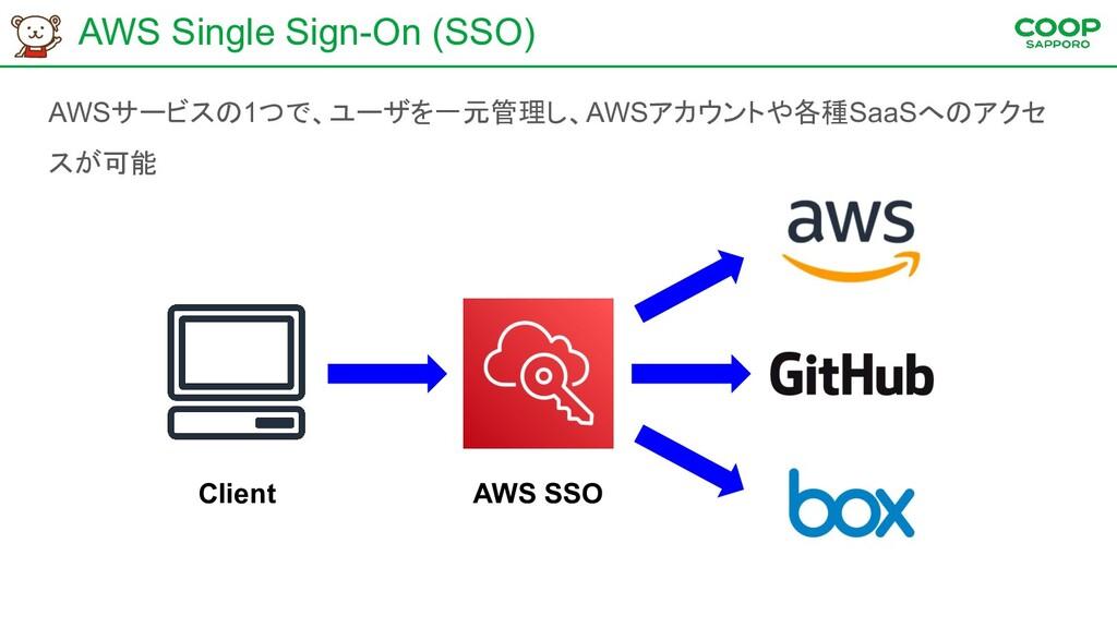 AWS Single Sign-On (SSO) AWSサービスの1つで、ユーザを一元管理し、...