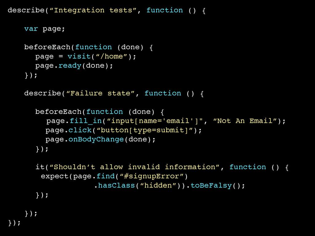 """describe(""""Integration tests"""", function () { var..."""