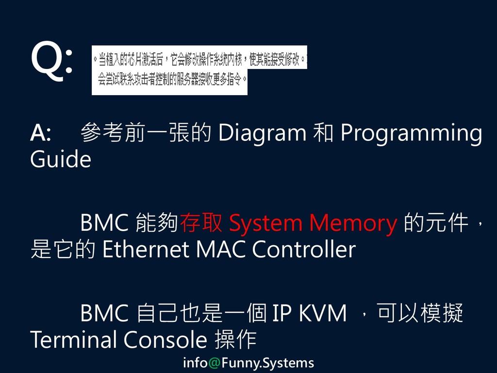 Q: A: 參考前一張的 Diagram 和 Programming Guide BMC 能夠...