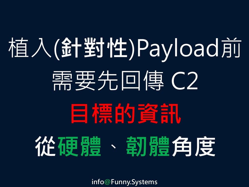 植入(針對性)Payload前 需要先回傳 C2 目標的資訊 從硬體、韌體角度 info@Fu...