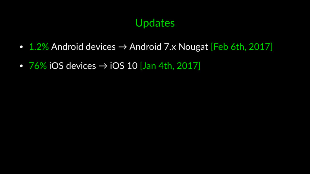 Updates • 1.2% Android devices → Android 7.x No...
