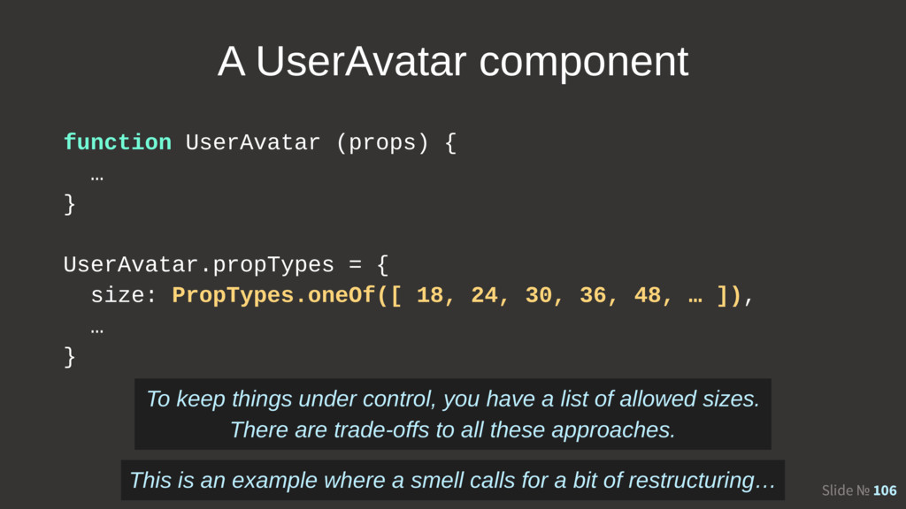 Slide № 106 A UserAvatar component function Use...