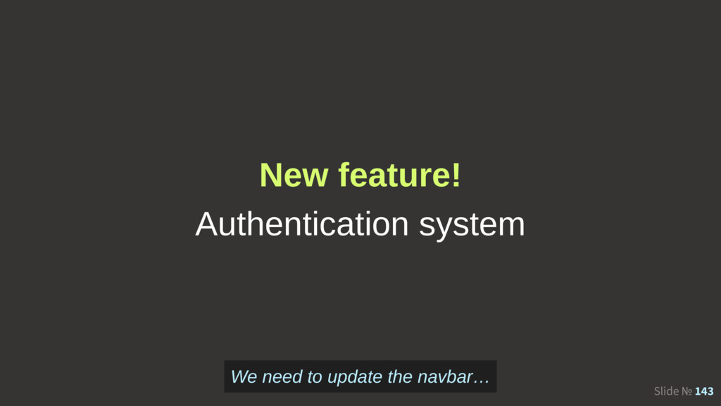 Slide № 143 New feature! Authentication system ...