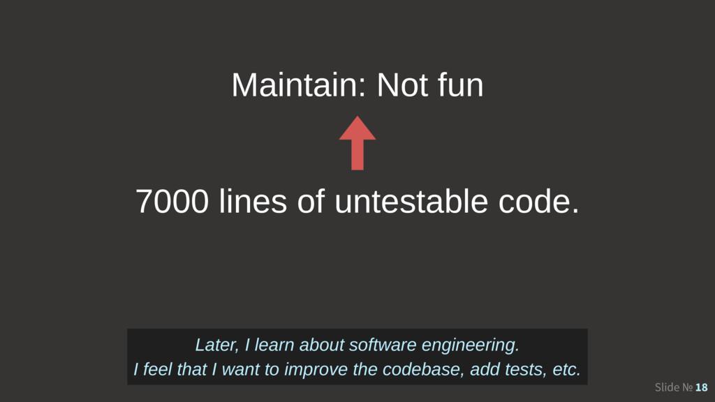 Slide № 18 7000 lines of untestable code. Maint...