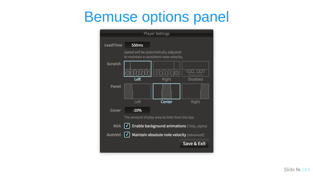 Slide № 184 Bemuse options panel