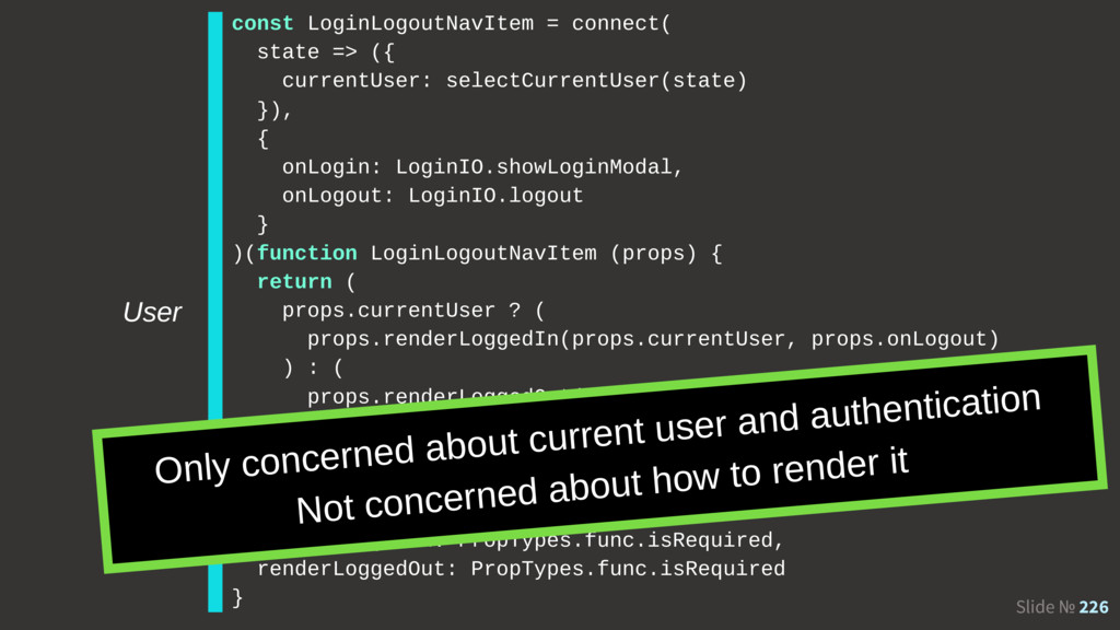 Slide № 226 const LoginLogoutNavItem = connect(...