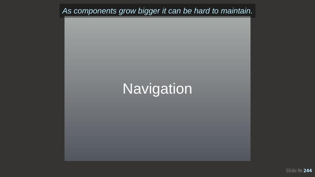 Slide № 244 Navigation As components grow bigge...