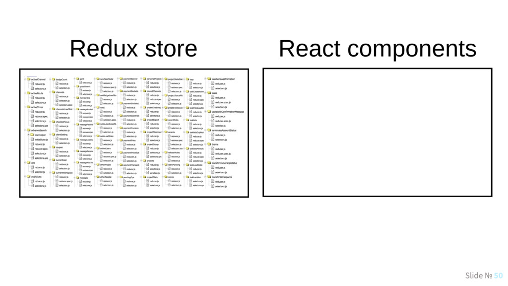 Slide № 50 Redux store React components