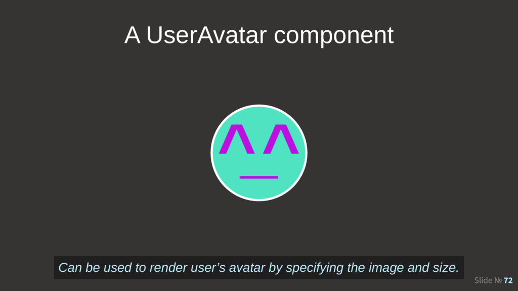 Slide № 72 A UserAvatar component Can be used t...