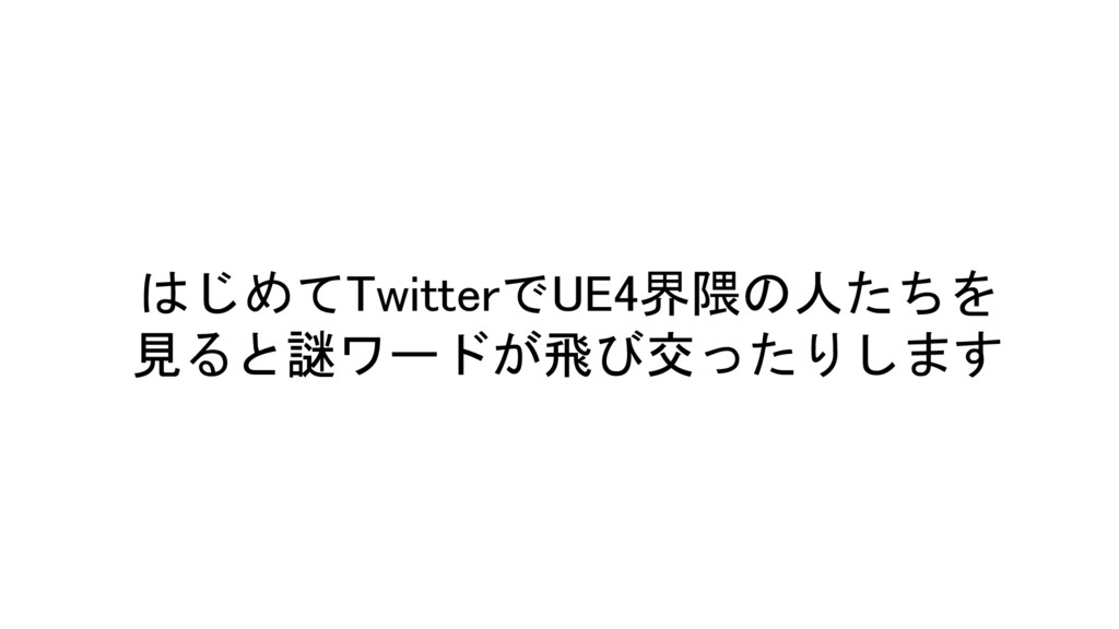 はじめてTwitterでUE4界隈の人たちを 見ると謎ワードが飛び交ったりします