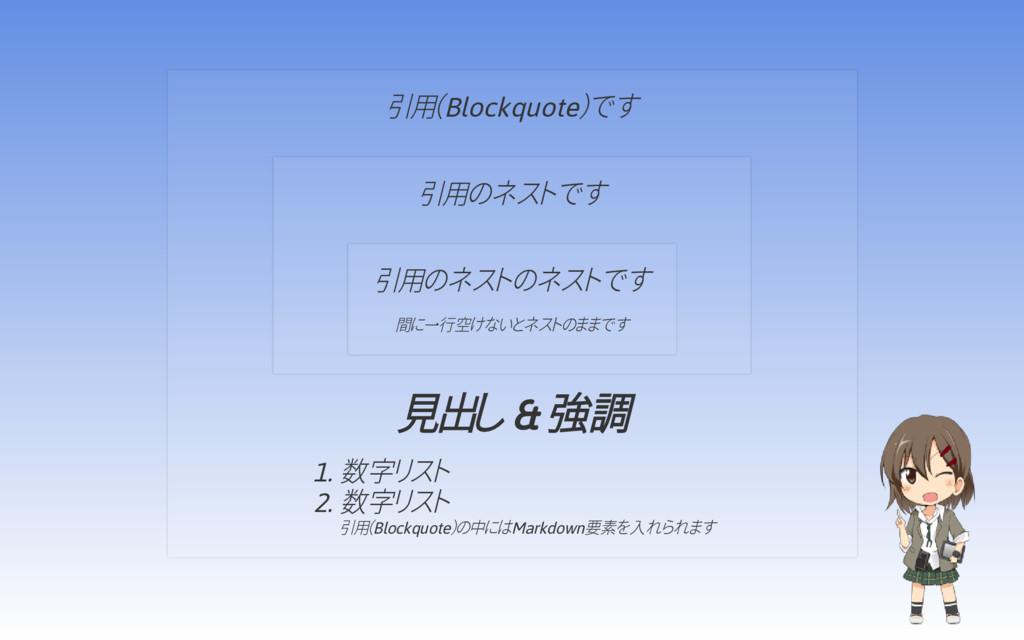 引用(Blockquote)です 見出し & 強調 1. 数字リスト 2. 数字リスト 引用(...