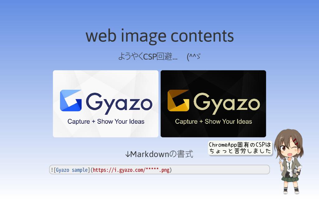 web image contents ようやくCSP回避… (^^ゞ ↓Markdownの書式...