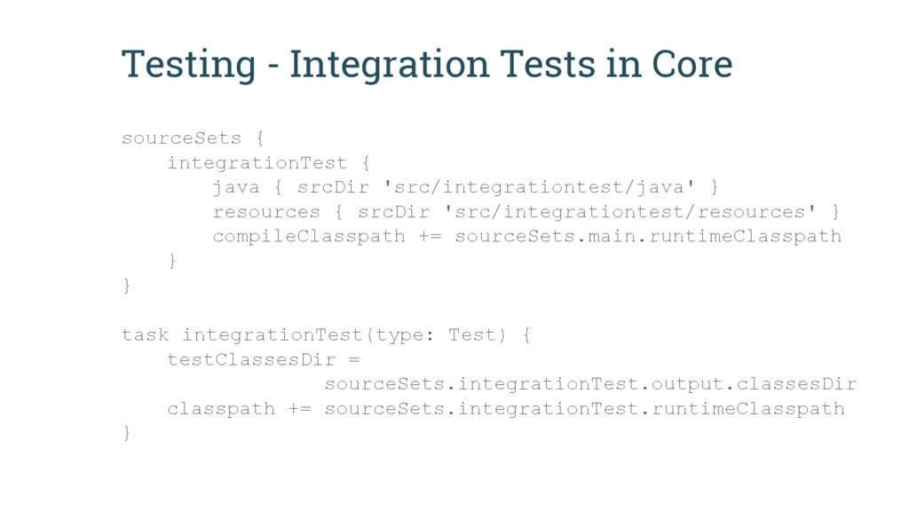 Testing - Integration Tests in Core sourceSets ...