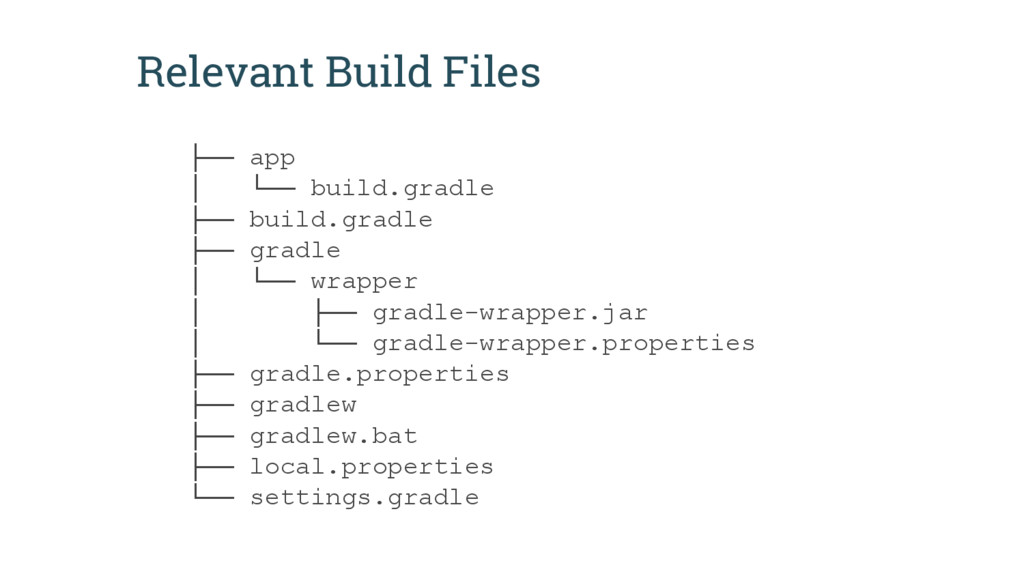 Relevant Build Files ├── app │ └── build.gradle...