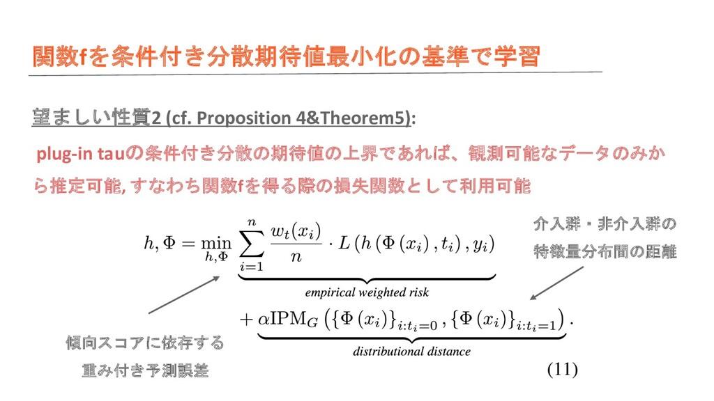 関数fを条件付き分散期待値最小化の基準で学習 望ましい性質2 (cf. Proposition...