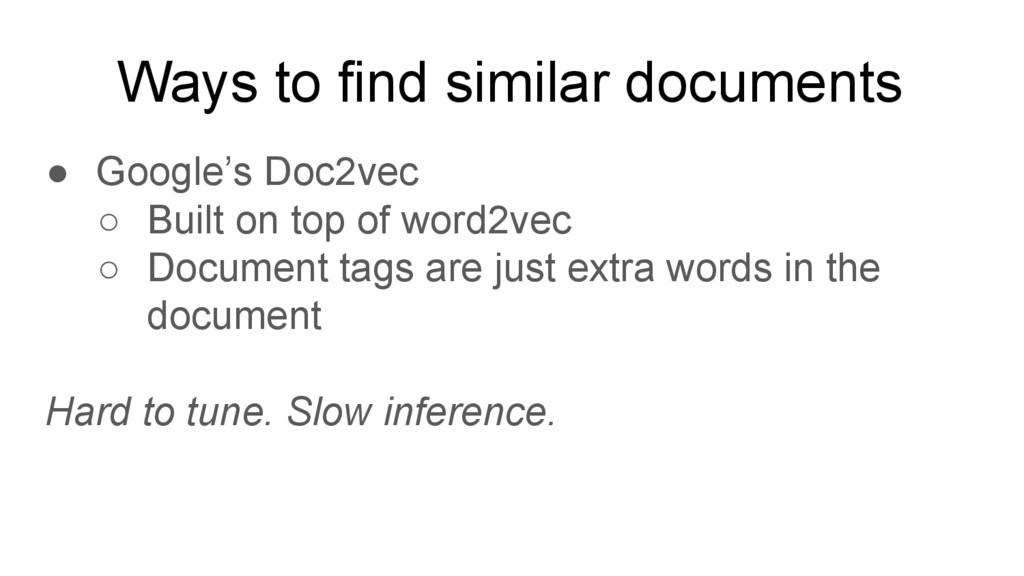 Ways to find similar documents ● Google's Doc2v...