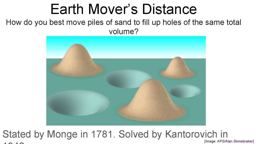 Earth Mover's Distance How do you best move pil...