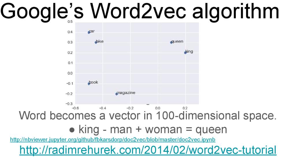 Google's Word2vec algorithm ● Word becomes a ve...