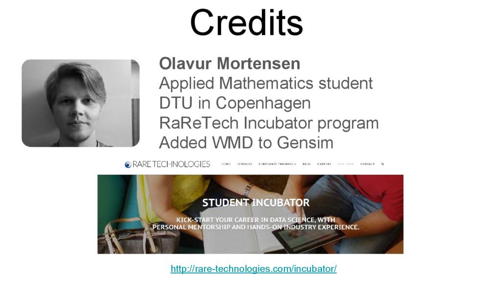 Credits Olavur Mortensen Applied Mathematics st...