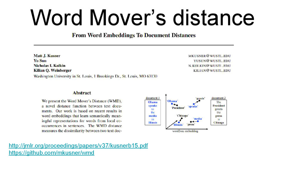 Word Mover's distance http://jmlr.org/proceedin...