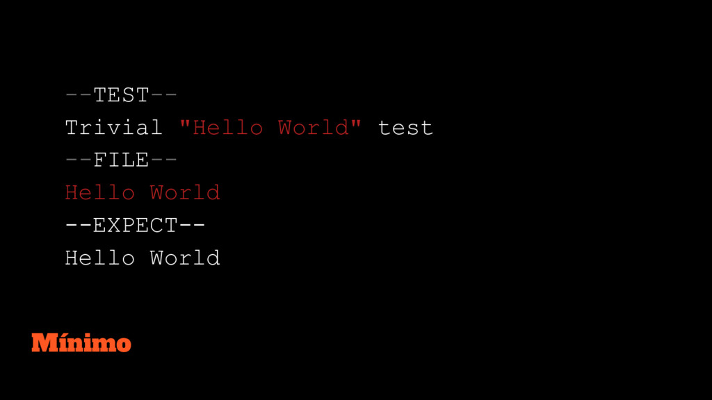 "--TEST-- Trivial ""Hello World"" test --FILE-- He..."