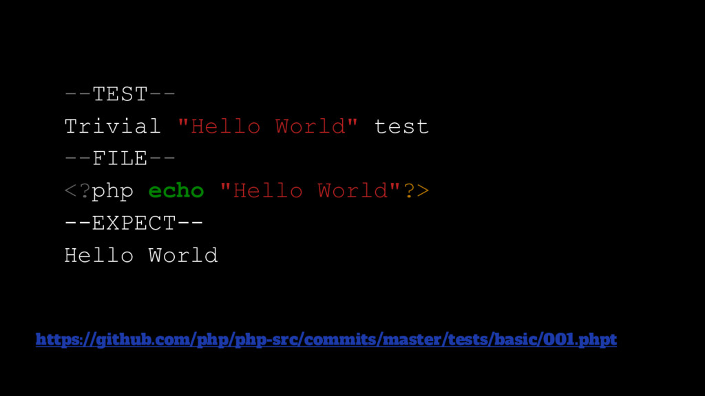 "--TEST-- Trivial ""Hello World"" test --FILE-- <?..."