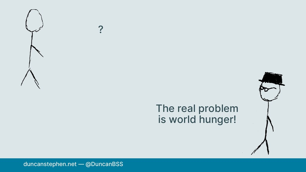 ? The real problem is world hunger! duncansteph...