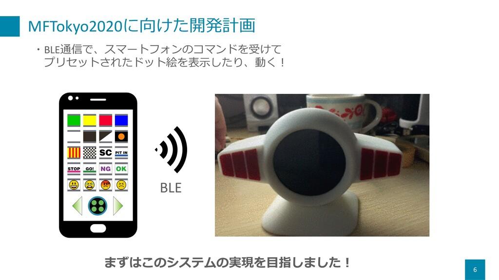 MFTokyo2020に向けた開発計画 6 ・BLE通信で、スマートフォンのコマンドを受けて ...