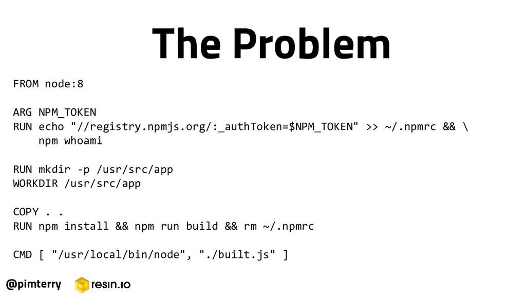 "FROM node:8 ARG NPM_TOKEN RUN echo ""//registry...."